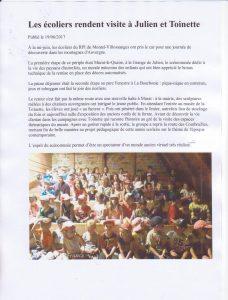 une école du Puy-de-Dôme chez Toinette et Julien